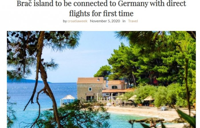 Brač island to be connected to Germany with direct flights for first time